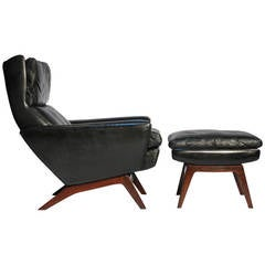 Gustav Thams Leather and Rosewood Lounge Chair and Ottoman