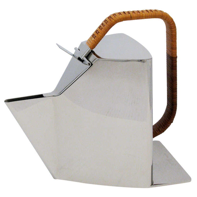 Richard Sapper for Alessi Polished Steel and Cane Kettle