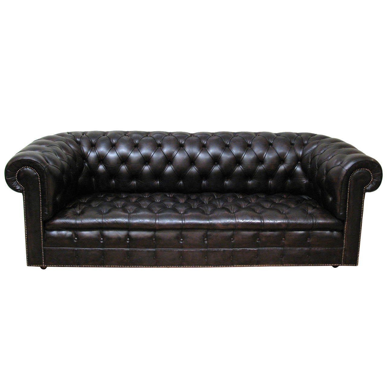 English chesterfield tufted leather sofa at 1stdibs for Tufted leather sleeper sofa