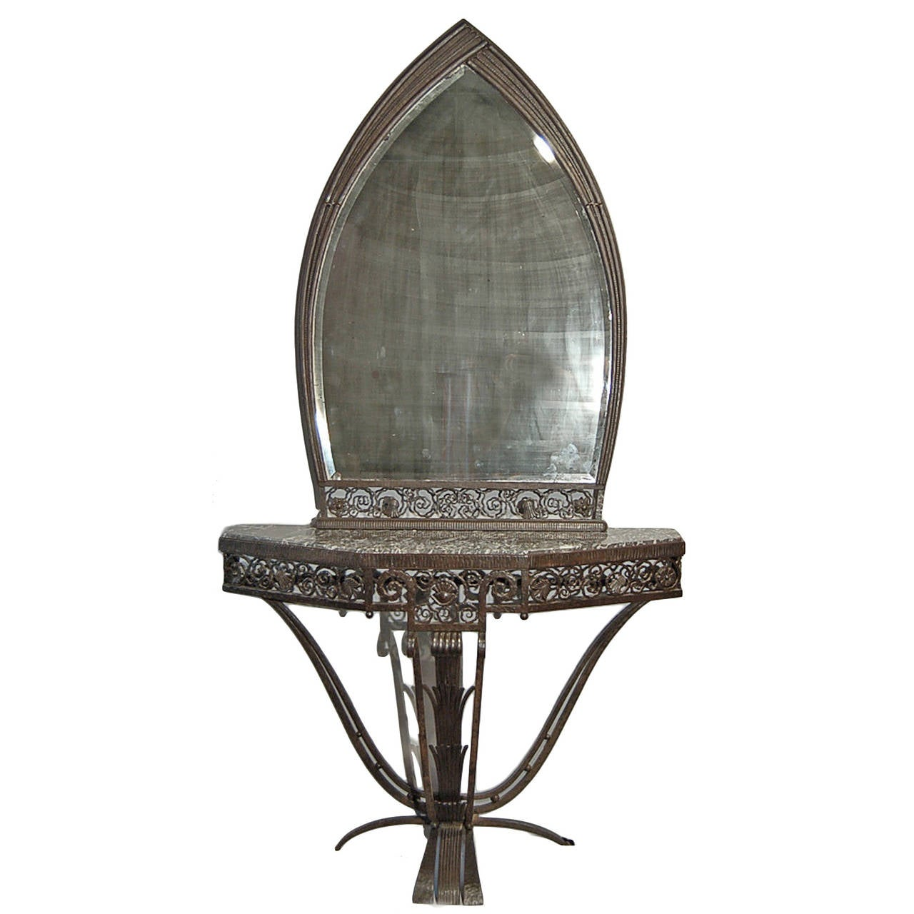 Console and mirror by paul kiss signed circa 1927 at 1stdibs for Mirror kisses