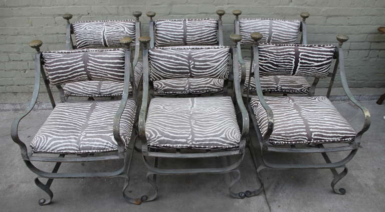 Set Of Six Metal And Bronze Patio Chairs At 1stdibs