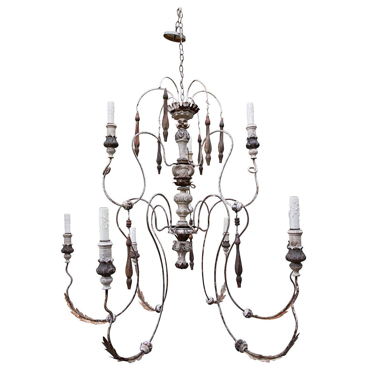Nine-Light Italian Painted Chandelier with Wood Tassels For Sale