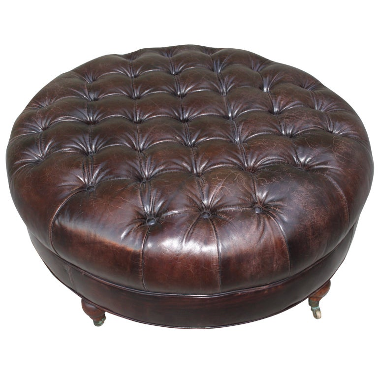 Round Tufted Leather Ottoman Leather Tufted Ottoman