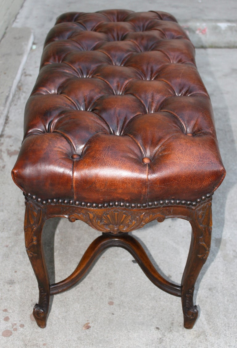 Carved Leather Tufted Bench C 1900 At 1stdibs