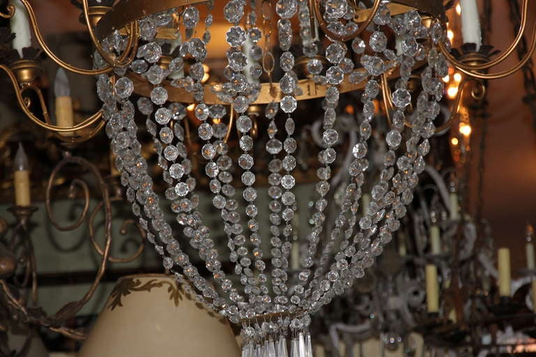 Crystal and Gilt Metal Chandelier w Wax Candle Covers at