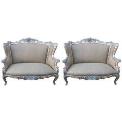 Pair of French Art Nouveau Silver Gilt and Painted Sofas