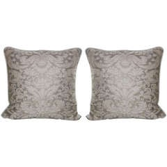 Pair of Cream & Gold Fortuny Pillows with Belgium Linen Backs