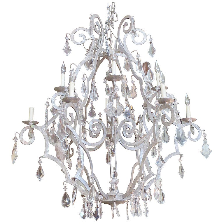 Monumental Silver Gilt Crystal Chandelier At 1stdibs