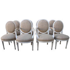 Set of Eight Italian Painted Dining Chairs