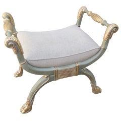 Painted & Parcel Gilt Bench with Belgium Linen
