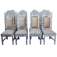 Set of (8) Spanish Painted Dining Chairs C. 1900's