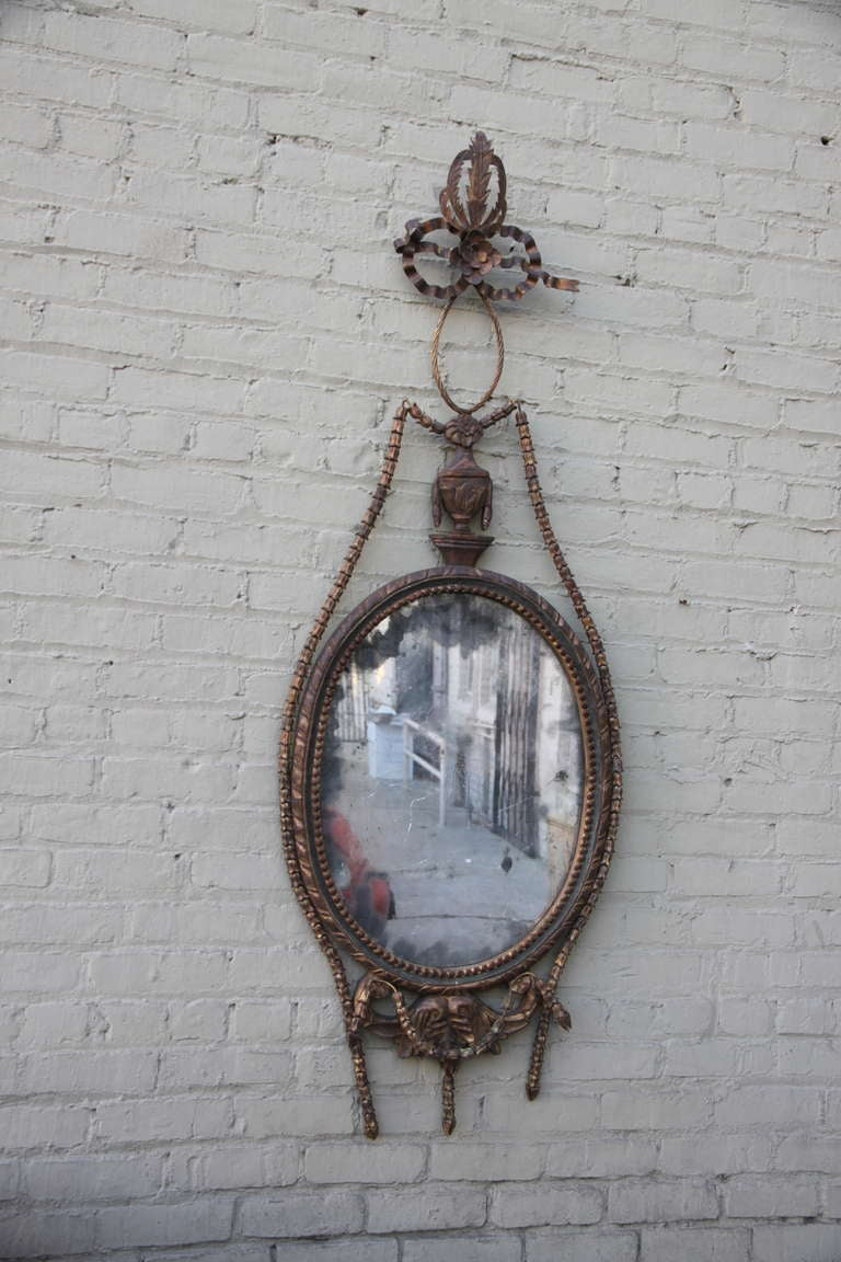Rococo Pair of Giltwood Carved Italian Style Mirrors For Sale