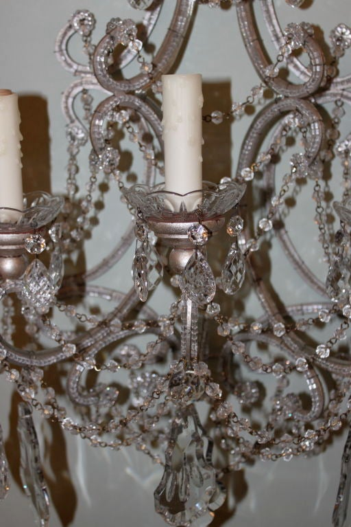 Beaded Crystal Wall Sconces : Pair of Italian Style Six Light Crystal and Beaded Sconces at 1stdibs