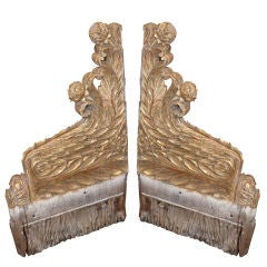 Pair of 19th C. Continental Gilt Carved Fragments