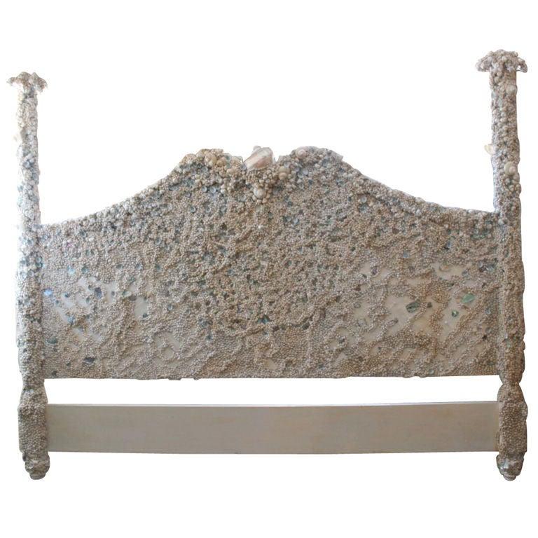 Unique encrusted handmade seashell headboard at 1stdibs for Unusual headboards for sale