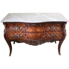 French Inlaid Bombay Commode with Marble Top C. 1900's