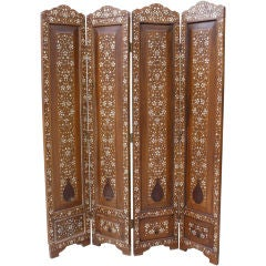 Four Panel Moroccan Inlaid Screen C. 1900's