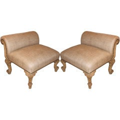 Pair of Carved French Benches/Footstools C. 1900