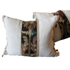 Pair of 18th C. Tapestry Pillow on Antique Linen with Tassels