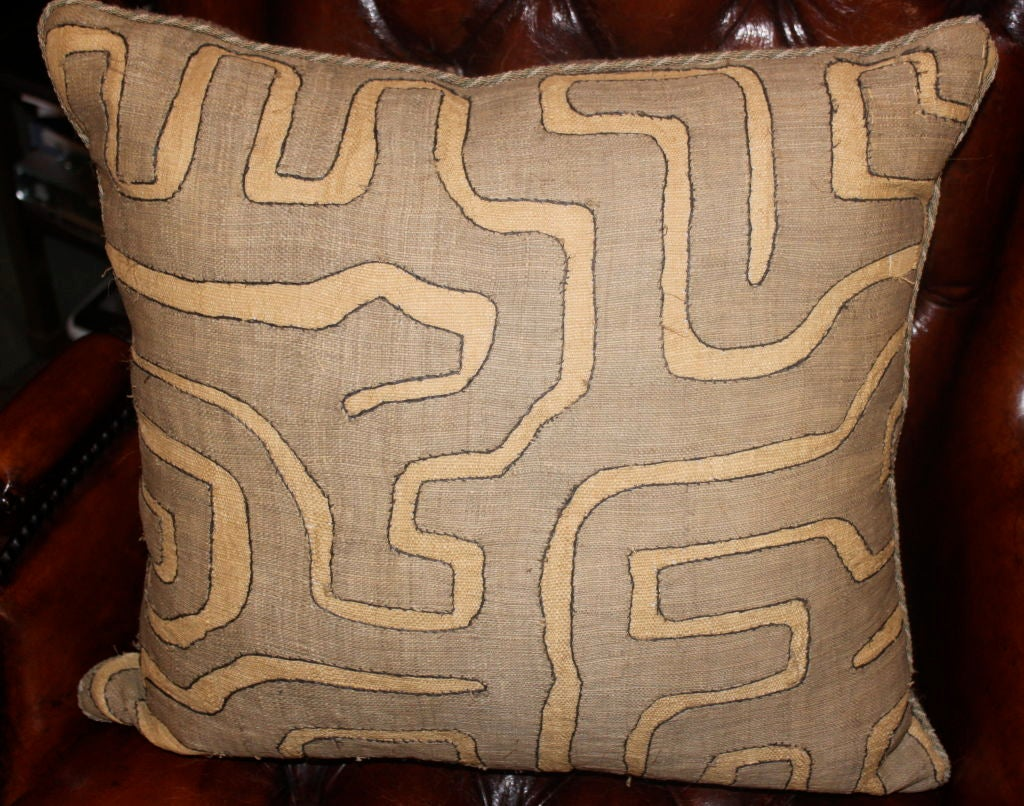 20th Century Pair of Vintage African Kuba Cloth pillows