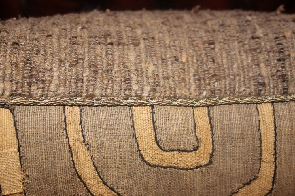 Pair of Vintage African Kuba Cloth pillows 3