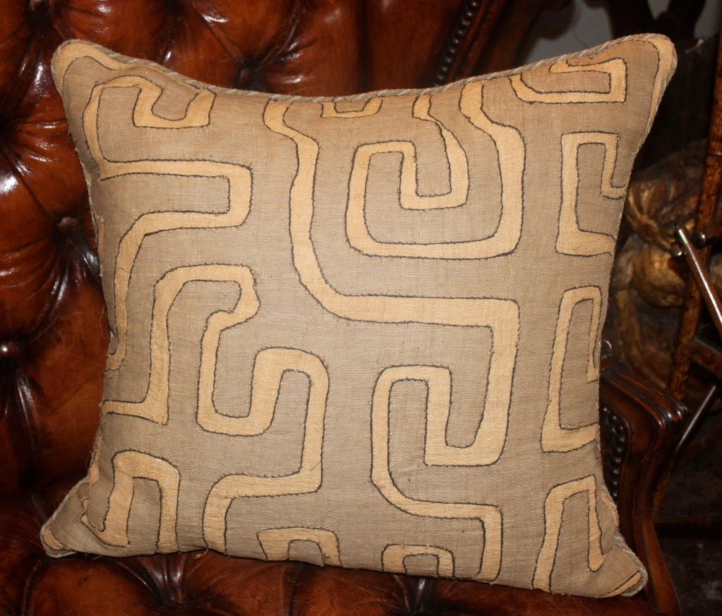 Pair of Vintage African Kuba Cloth pillows 4