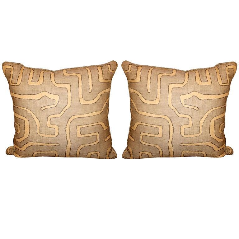Pair of Vintage African Kuba Cloth pillows