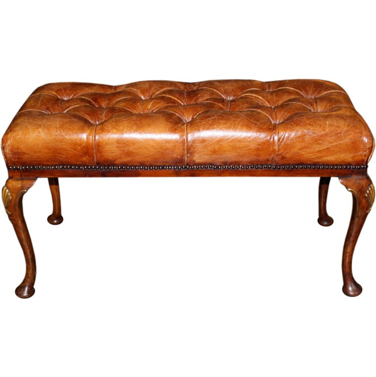 English Leather Tufted Walnut Bench C 1920 39 S At 1stdibs
