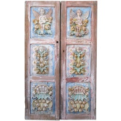Pair of 19th C. Spanish Carved Painted Doors