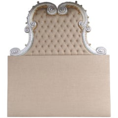 Italian Carved Painted & Parcel Gilt Headboard
