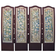 17th Century Tapestry Four-Panel Screen