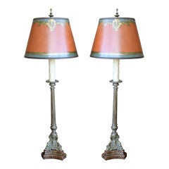 Pair of Brass Candlestick Lamps with Custom Painted Shades