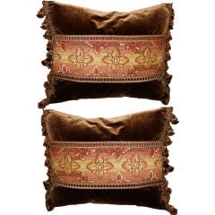 Pair of 18th Century Tapestry Pillows on Silk Velvet with Trim