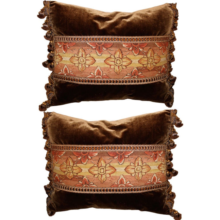 Pair of 18th Century Tapestry Pillows on Silk Velvet with Trim