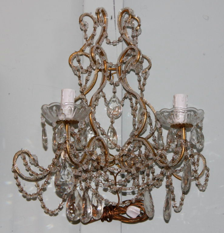 Vintage Crystal Wall Sconces : Pair of Vintage French Beaded and Crystal Sconces at 1stdibs