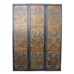 19th C. Leather Embossed 3-Panel Polychrome Screen