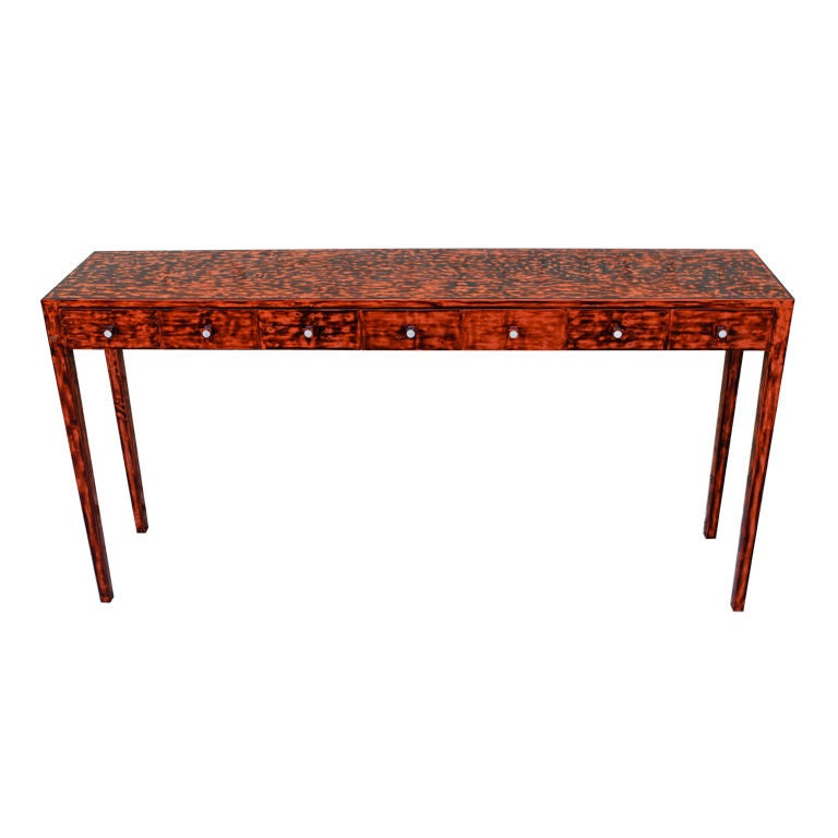 Faux Tortoise Lacquered Console Table At 1stdibs