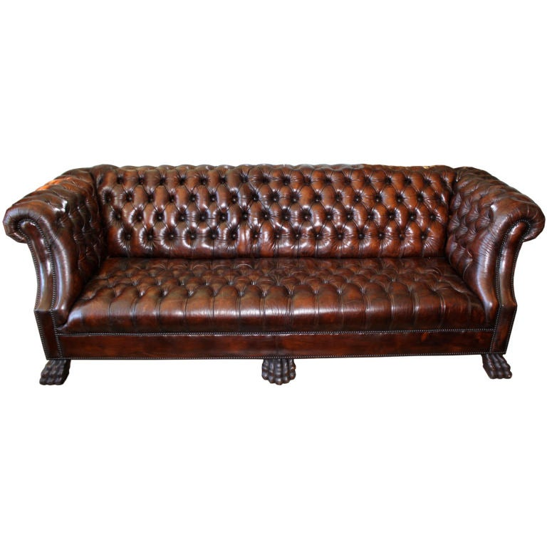 grand upholstered leather chesterfield style sofa at 1stdibs. Black Bedroom Furniture Sets. Home Design Ideas
