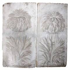 Pair of 19th C. Carved Marble Panels