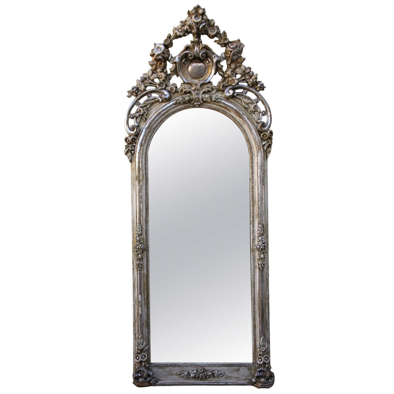 french louis xv style carved silver gilt mirror at 1stdibs