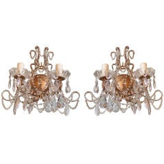 Pair of Two Light Gilt Metal and Crystal Sconces
