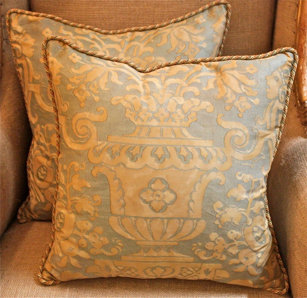 Vintage Authentic Fortuny Pillow with Cording image 2