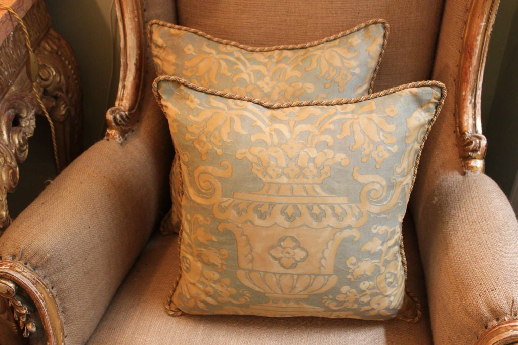 Vintage Authentic Fortuny Pillow with Cording image 4
