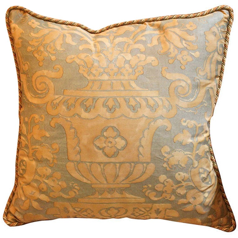 Vintage Authentic Fortuny Pillow with Cording