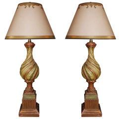 Pair of Carved Painted Italian Marbro Lighting Company Lamps