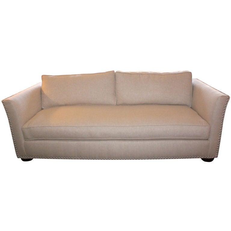 mid century style belgium linen upholstered sofa at 1stdibs. Black Bedroom Furniture Sets. Home Design Ideas