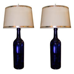 Pair of Cobalt Blue Glass Lamps with Parchment Shades