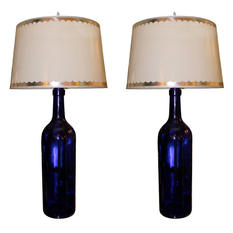 pair of cobalt blue glass lamps with parchment shades at. Black Bedroom Furniture Sets. Home Design Ideas