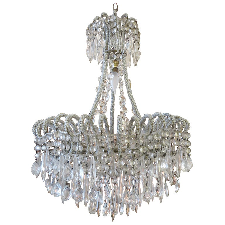 French beaded and crystal chandelier 1930 39 s at 1stdibs - Chandelier glass beads ...