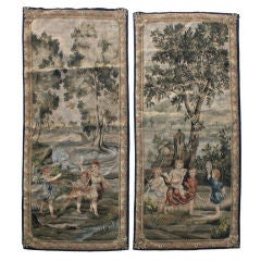 Pair of 19th C. Tapestry Panels with Figures/Foliage